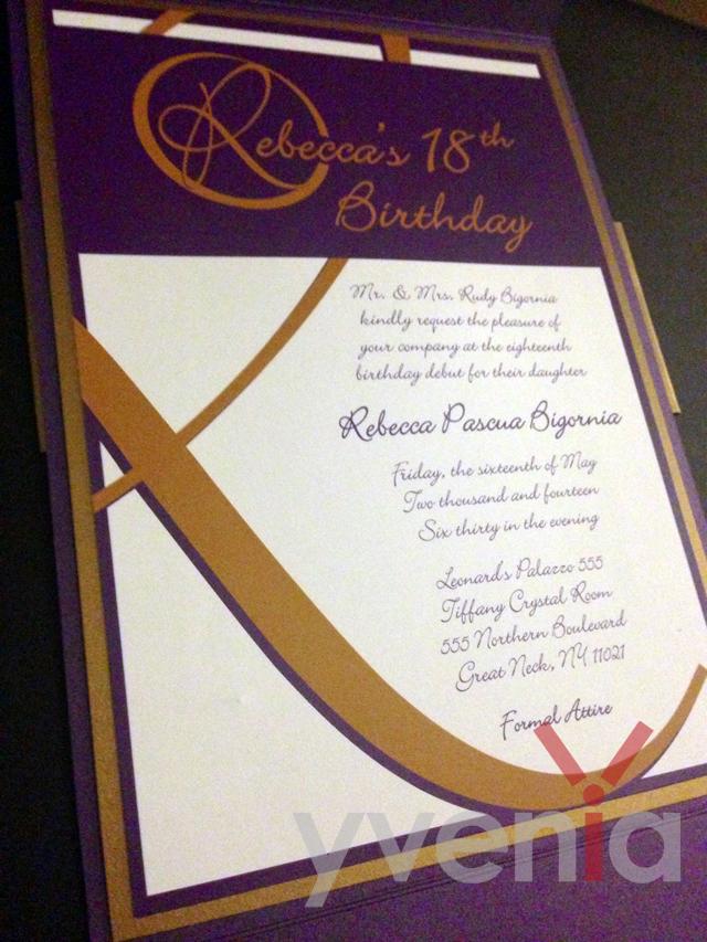Portfolio Update Custom Debutante Invitation