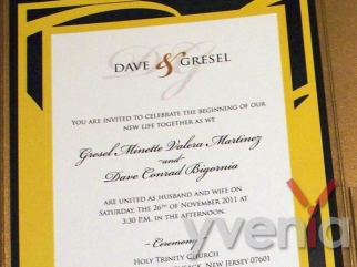 Close-up of invitation.