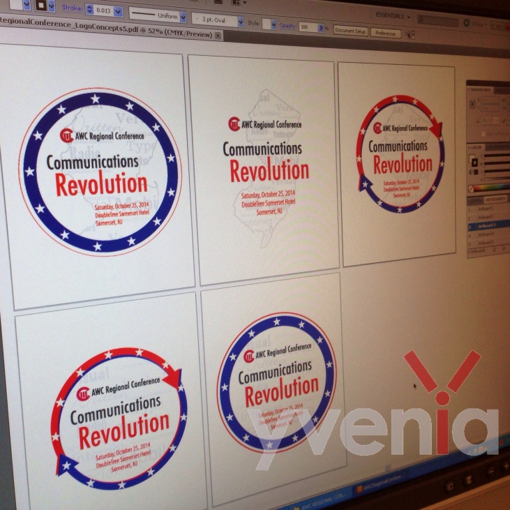 Various design concepts of a communications conference logo.