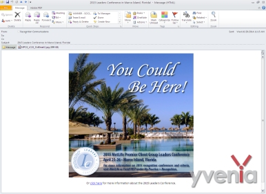 Email Graphic - 600x600 pixel image on a Microsoft Outlook email. This image is promoting a huge recognition conference in Marco Island, Florida.