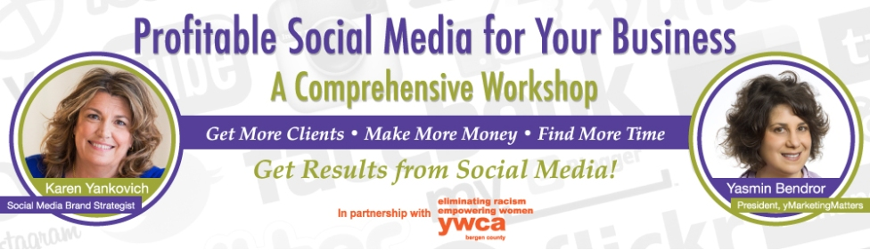 """Banner promoting the workshop, """"Profitable Social Media for Your Business."""""""