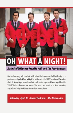 Flyer for Oh What A Night! A Musical Tribute to Frankie Valli and The Four Seasons